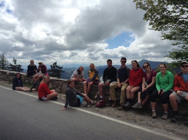 The group relexing after reaching the top of O Cebreiro